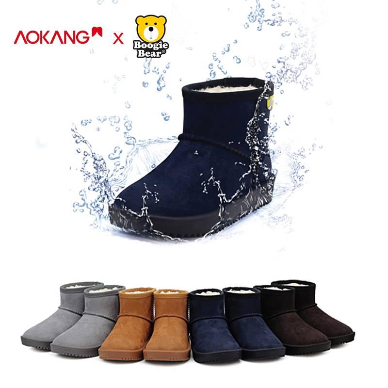 奥康童鞋儿童雪地靴防水2019年新款冬季加绒加厚男童女童宝宝棉靴
