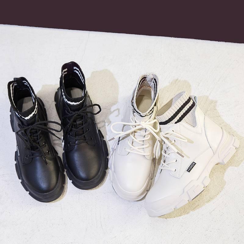珊堡马丁靴女2019秋冬新款加绒短靴女百搭英伦风保暖棉鞋ins靴