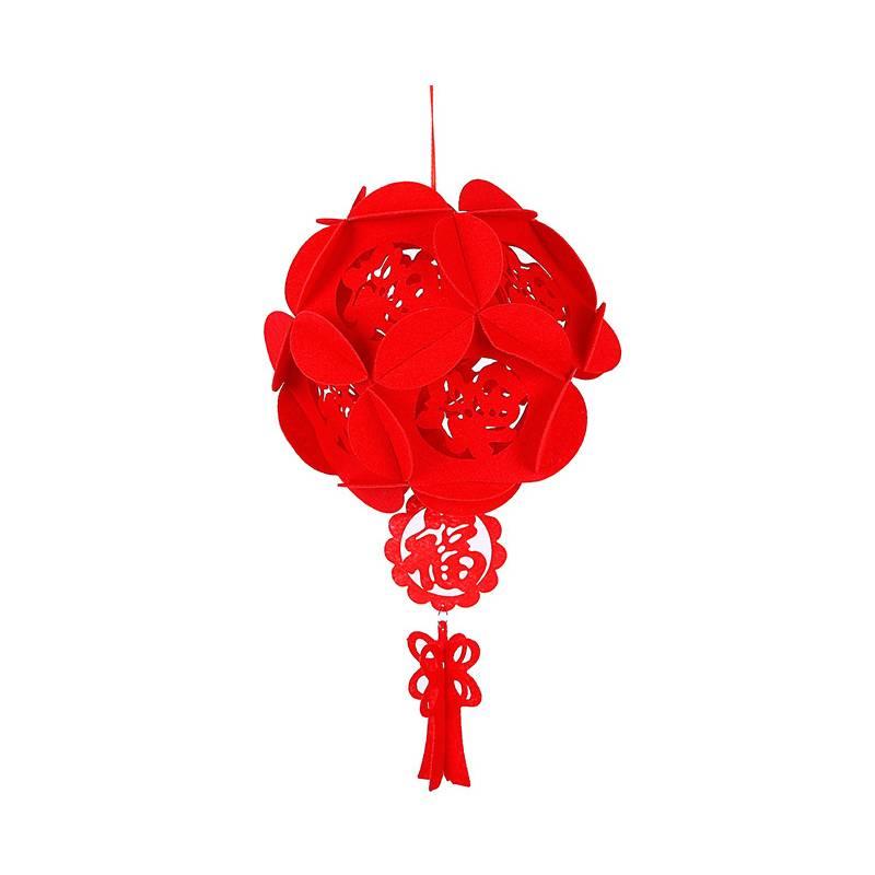 新年元旦拉花灯笼挂饰室内阳台装饰宫灯仿古中式无纺布拉旗灯笼