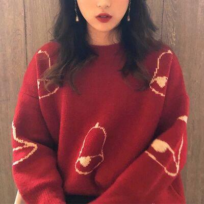 慵懒风圣诞节毛衣女套头加厚秋冬新款韩版百搭宽松针织衫