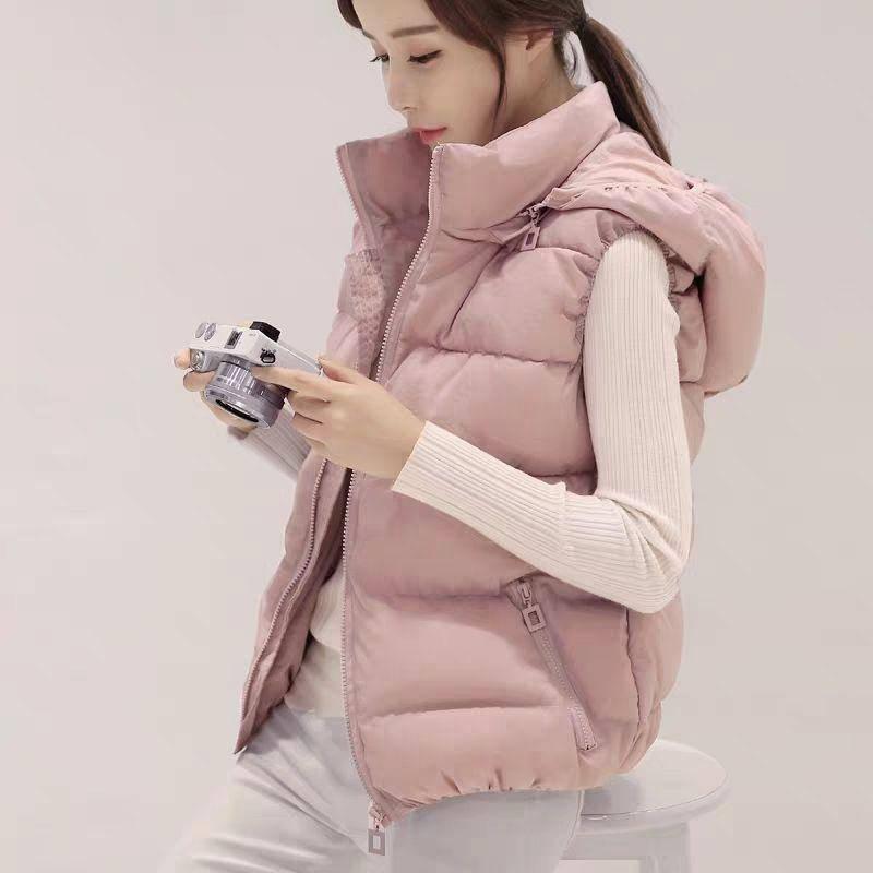 【可拆卸帽子】2019秋冬女士棉马甲短款韩版显瘦羽绒棉背心外套潮
