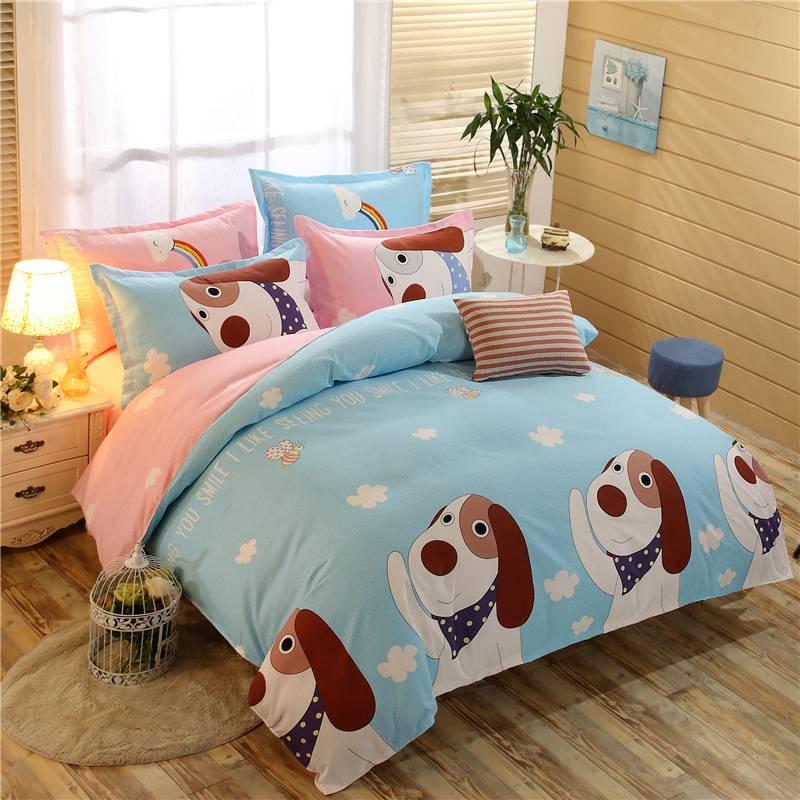 简约床上用品四件套卡通1.8m床双人卡通斜纹床单被套2.0m床4件套