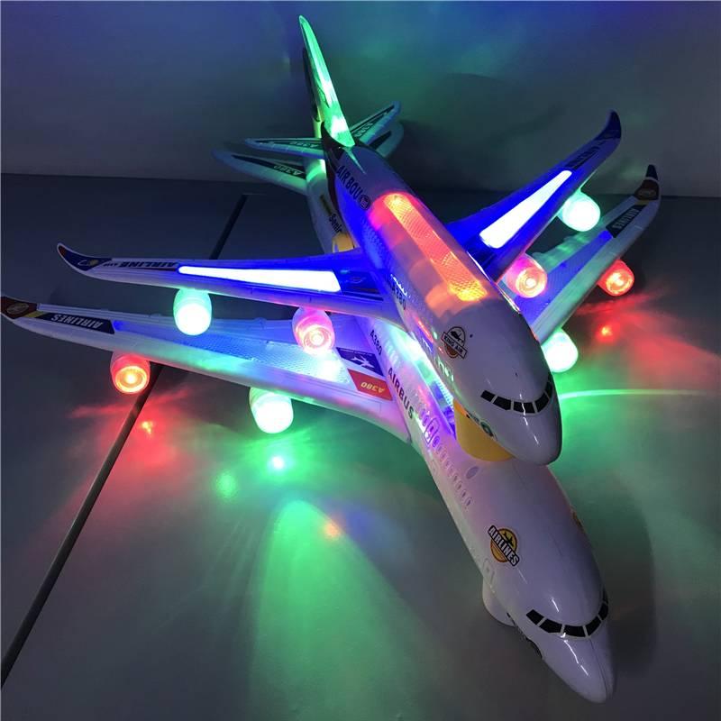 儿童玩具飞机男孩宝宝1-3岁2音乐发光电动玩具车仿真客机模型A380