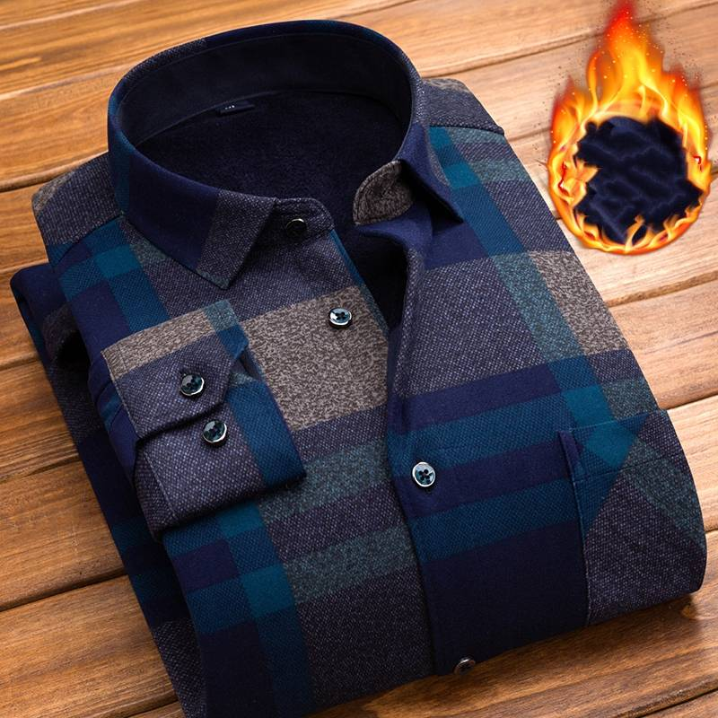 賓慧保暖襯衫男長袖加絨冬季寸衫中年磨毛格子休閑襯衣男爸爸裝