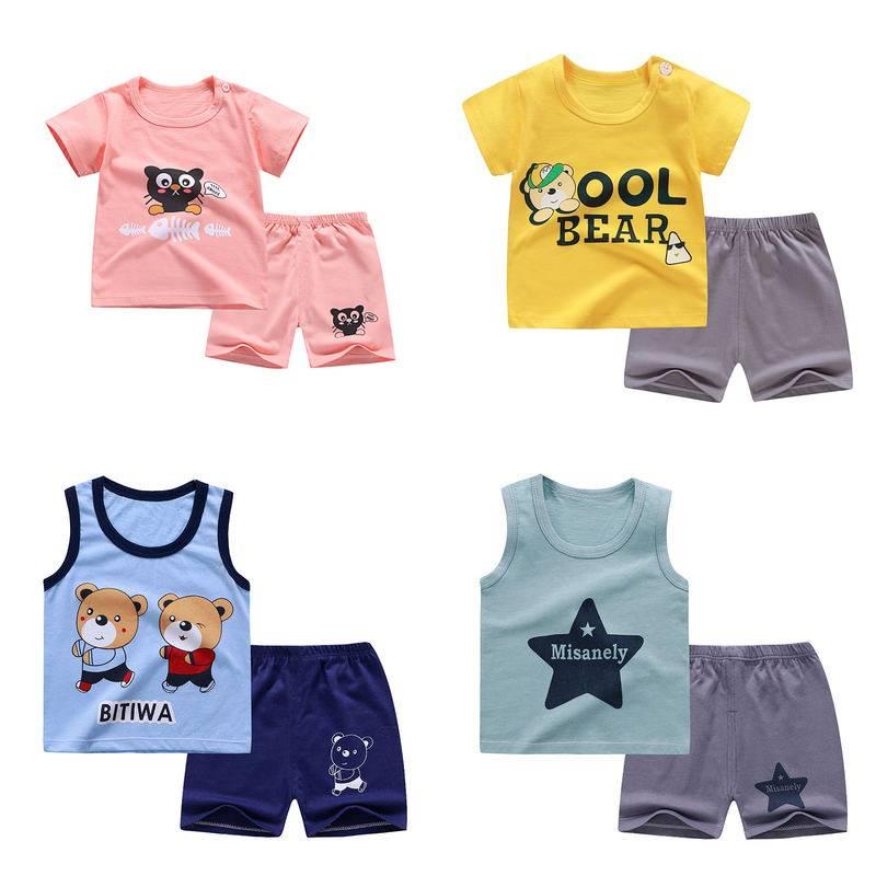 儿童短袖套装纯棉婴儿衣服男童短裤女童半袖0-7岁宝宝T恤夏季童装