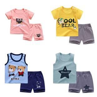 兒童短袖套裝純棉嬰兒衣服男童短褲女童半袖0-7歲寶寶T恤夏季童裝