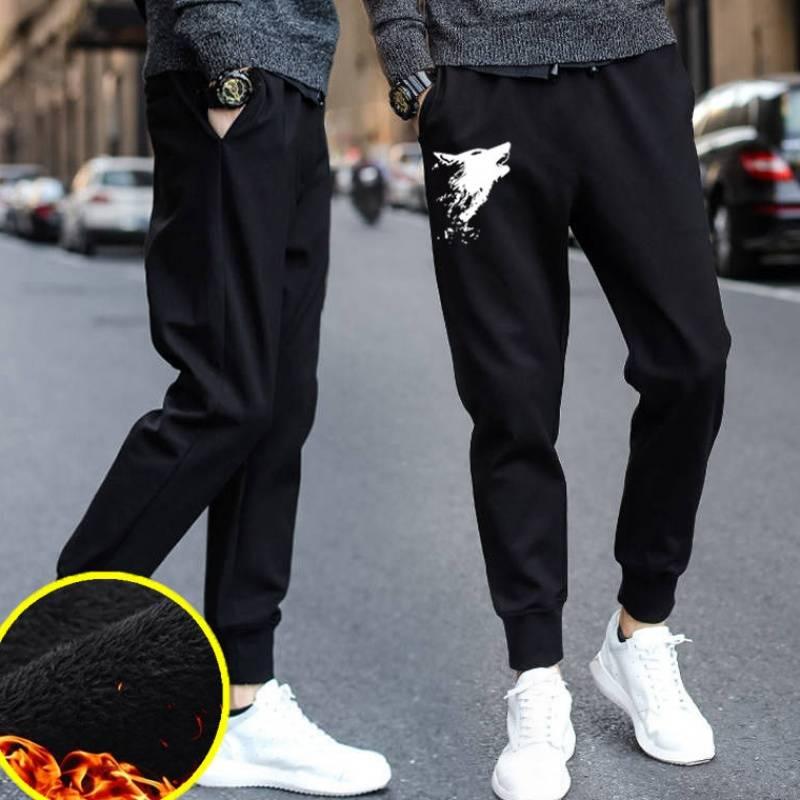 秋冬季男士休闲长裤子大码修身小脚哈伦青年学生黑色束脚加绒裤男