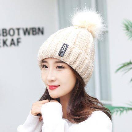 帽子女秋冬季保暖毛线帽加绒女士骑车防风防寒护脸护耳帽两件套帽