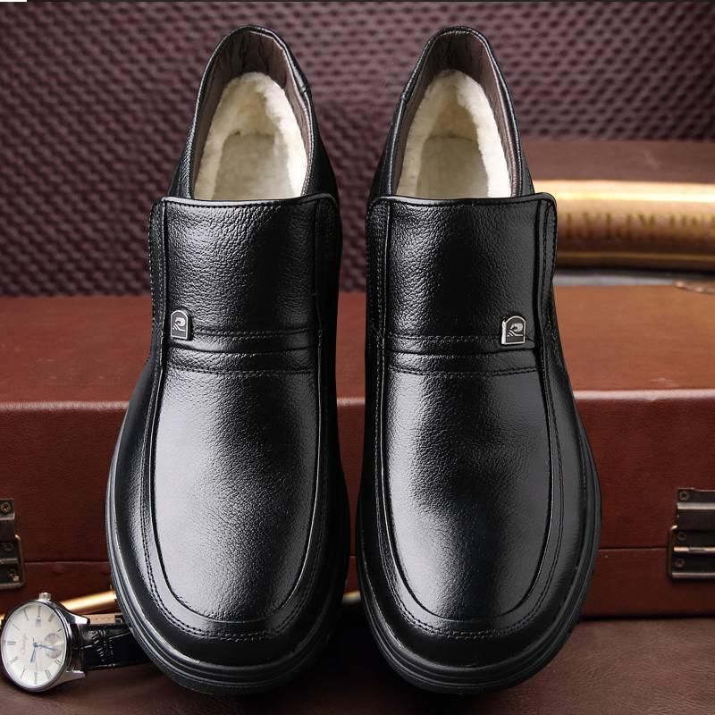 棉鞋男中老年爸爸鞋保暖加绒冬季加厚棉靴真皮防滑休闲高帮棉皮鞋