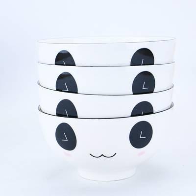 碗碟套装 家用卡通菜盘小清新碟子4人日式餐具创意可爱陶瓷盘子