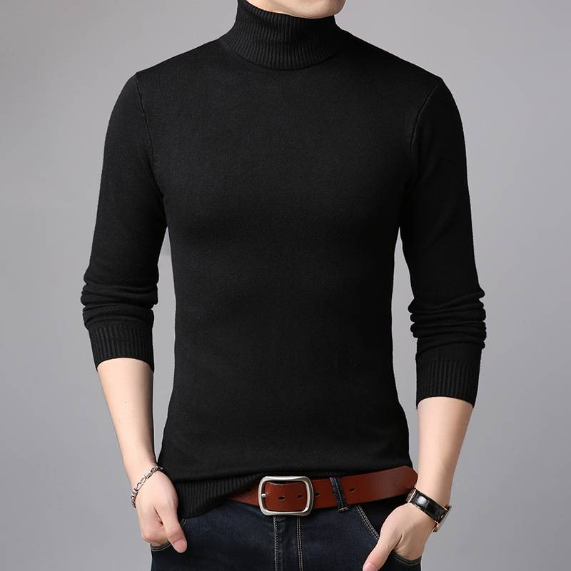 花花公子贵宾韩版纯色长袖毛衣男高领打底衫2019新款修身针织线衣