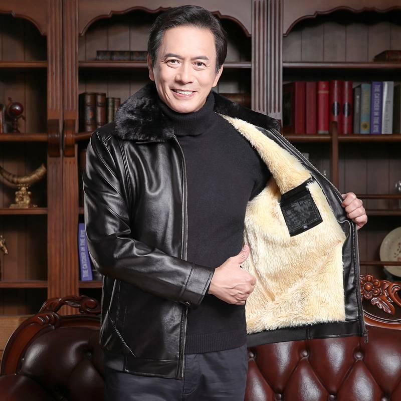 爸爸冬装外套加绒加厚中老年2019新款皮夹克中老年男装海宁皮衣男