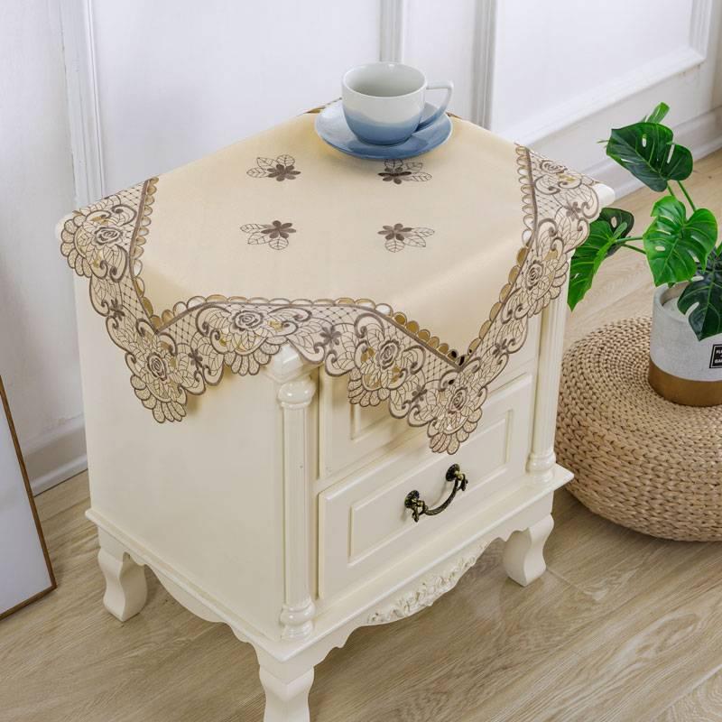 床头柜多用巾防尘布小桌布欧式蕾丝绣花布床头柜卧室微波炉罩套