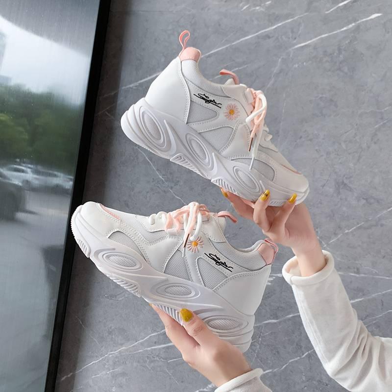 芬爱莎内增高小白鞋女2020秋新款厚底网鞋坡跟显瘦百搭休闲老爹鞋