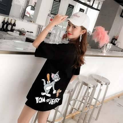 短袖T恤女新款韩版中长款学生宽松显瘦卡通小熊半袖上衣女打底衫Q