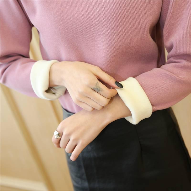 冬季新款德绒阳离子发热打底衫女2.0加绒加厚半高领大码保暖上衣