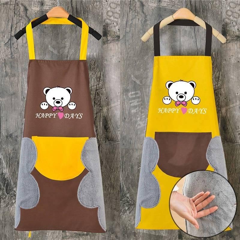 可擦手围裙女家用口袋防水油厨房可爱新款工作服成人做饭劳保干活