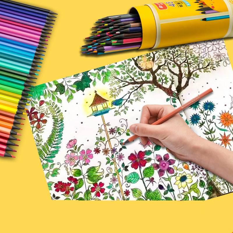 48色高级彩色铅笔送涂色本绘画