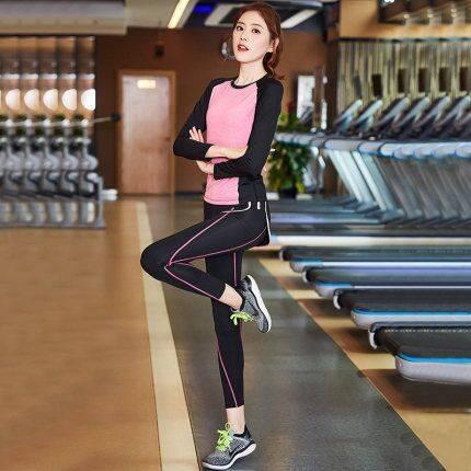 运动休闲套装 瑜伽服女秋冬款速干跑步健身房网红仙气质瑜珈长袖