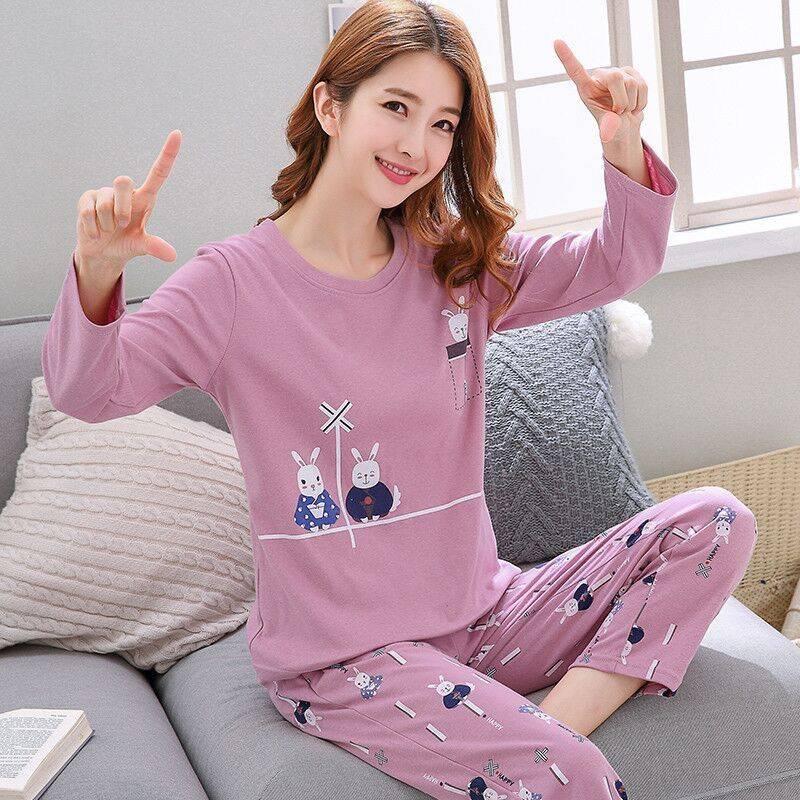 【M-5XL,70-200斤】长袖睡衣女夏学生女士大码睡衣女春秋季套装