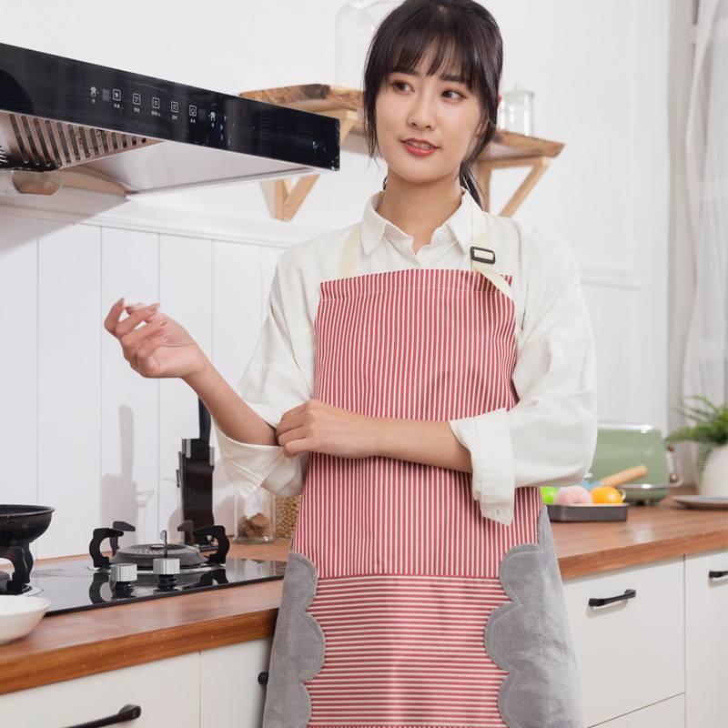 可擦手厨房围裙防水防油女工作服布家用做饭大人罩衣围腰个性时尚