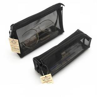 日本MUJI无印良品文具透明网纱学生考试笔袋女男简约大容量收纳袋