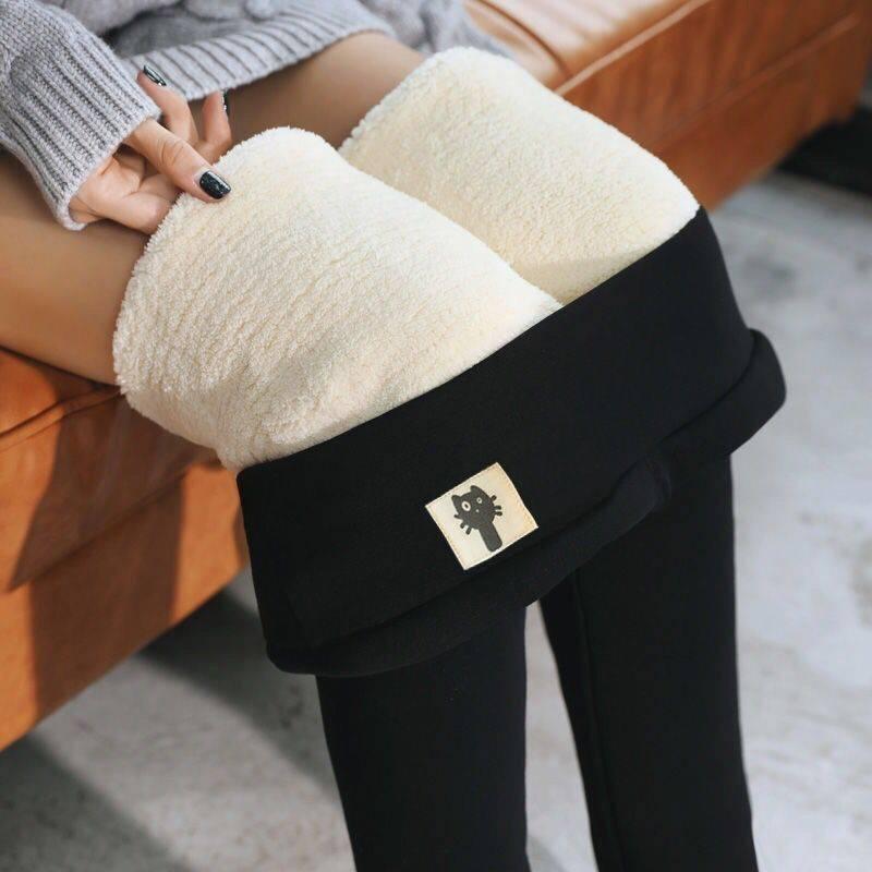超厚羊羔绒打底裤韩版女裤冬季加绒小脚裤高腰弹力保暖棉裤长裤子