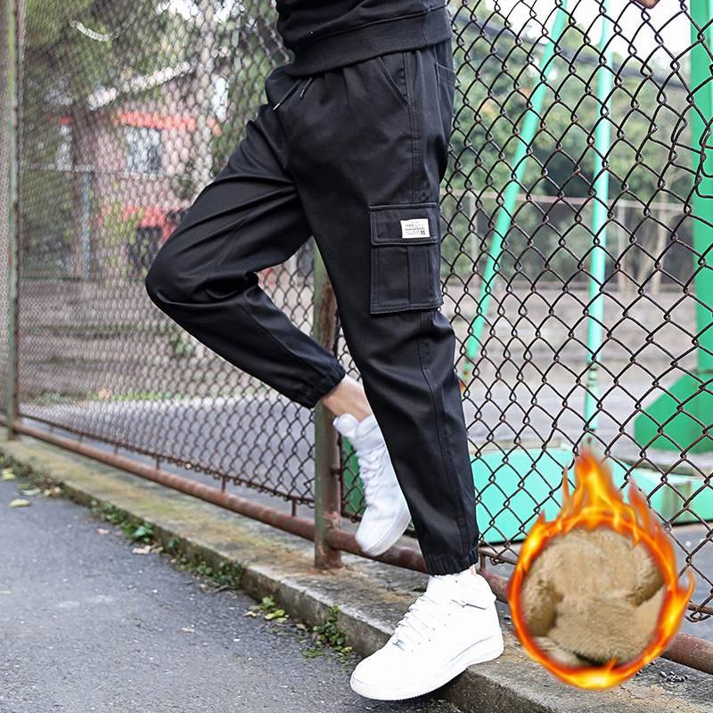 2020新款纯棉工装裤男士春秋季潮牌加绒加厚时尚潮流小脚休闲裤男