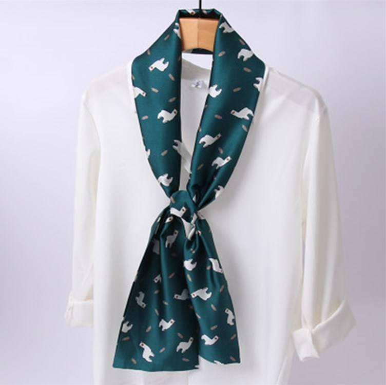 时尚百搭长条小丝巾薄款