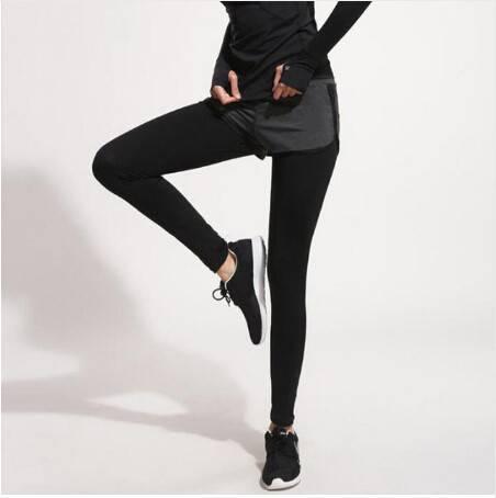 运动短裤女户外运动跑步裤瑜伽裤健身裤速干裤假两件长裤女大码