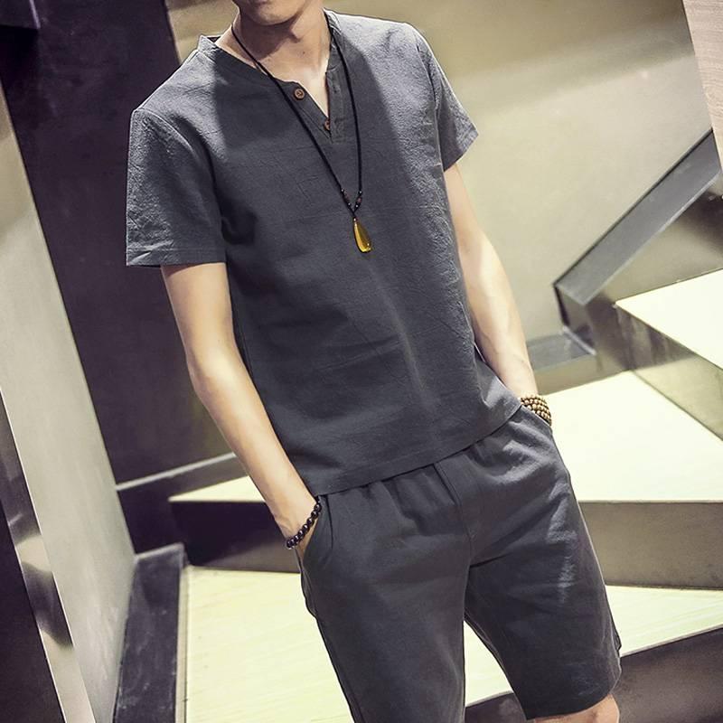 花花公子贵宾夏季纯棉套装男潮流休闲棉麻短袖t恤男士衣服男装