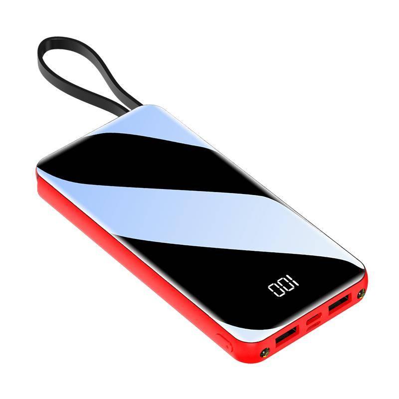 自带线充电宝20000毫安大容量超薄小巧便携移动电源适用小米苹果vivo华为冲通用快闪充石墨烯1000000超大量