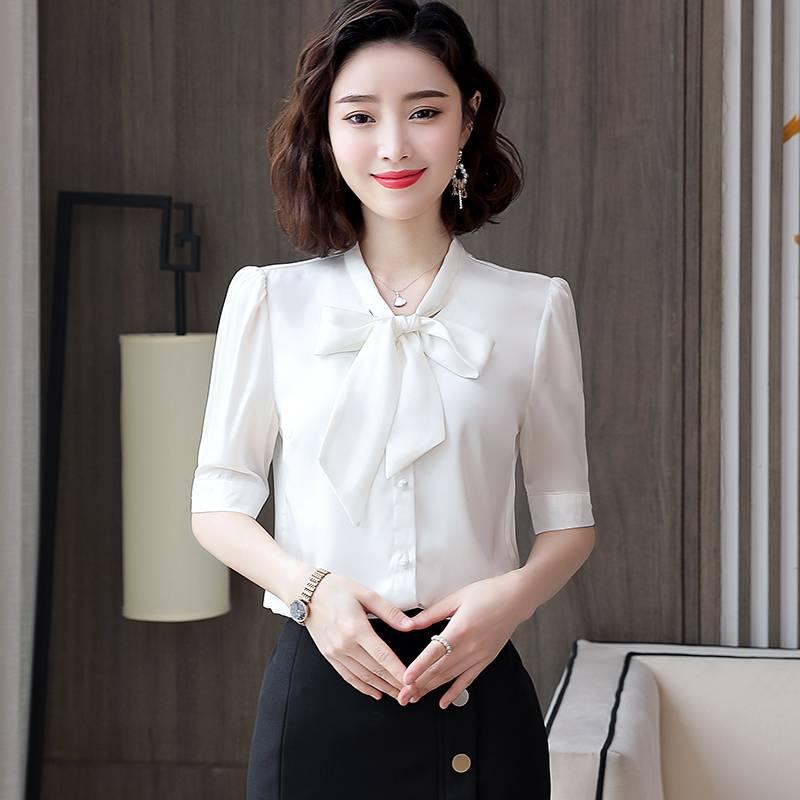 红色蝴蝶结衬衫女长袖2020春季新款韩版洋气时尚飘带上衣打底衫寸