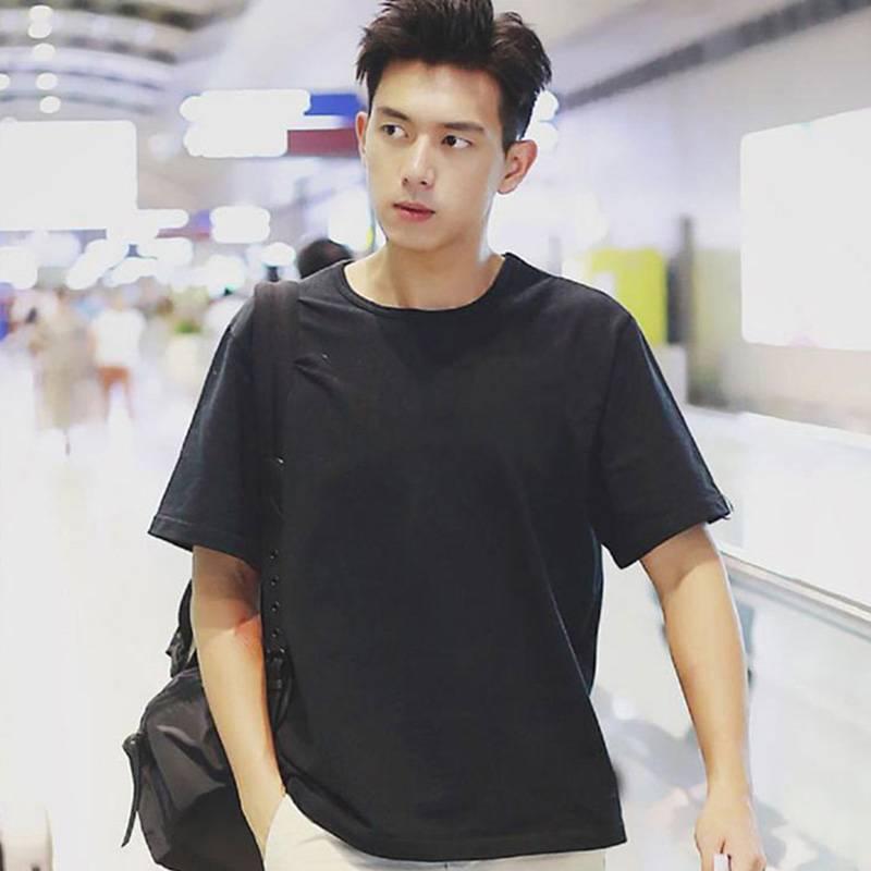 短袖T恤男2020新品夏季潮流纯色纯棉半袖宽松男士圆领修身男t短袖