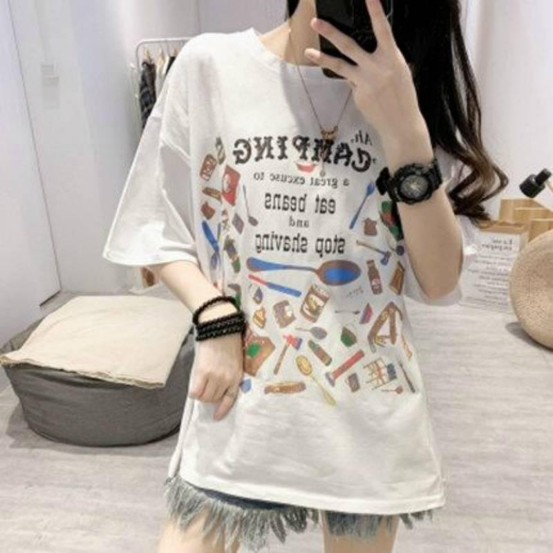 舒曼芊2020夏季新款白色短袖T恤女印花圆领韩版宽松显瘦上衣ins潮