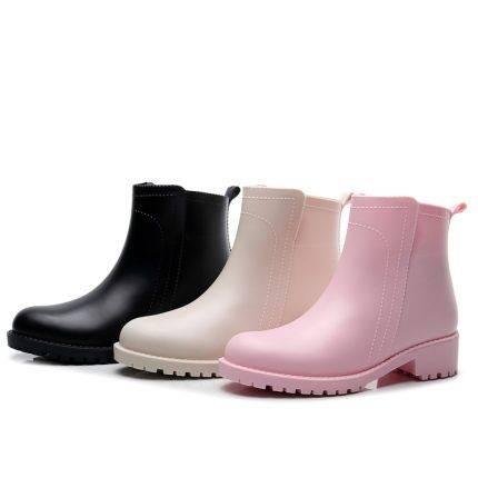 春秋季雨鞋女士韩国时尚款外穿保暖防滑胶鞋成人防水鞋女雨靴短筒
