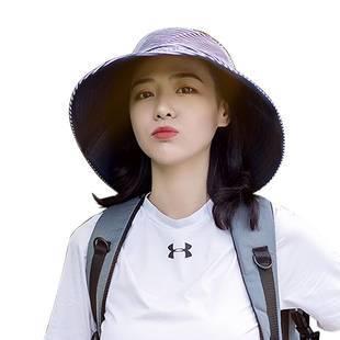 日本uvcut防曬帽子女遮陽帽漁夫帽太陽防紫外線雙面大S同款大沿帽