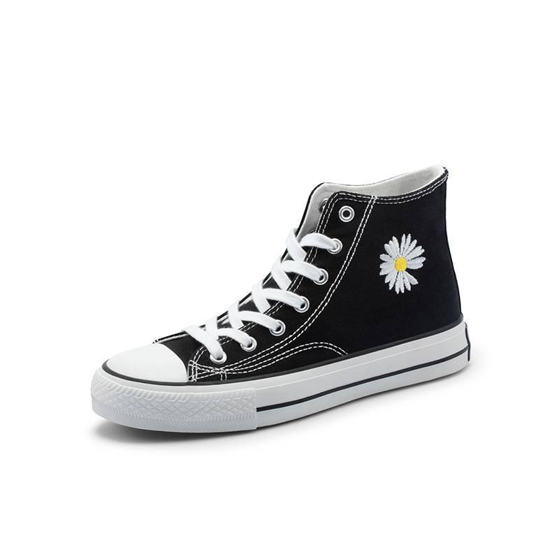 honeyGIRL2020春季新款韩版小雏菊高帮帆布鞋女ulzzang休闲鞋百搭