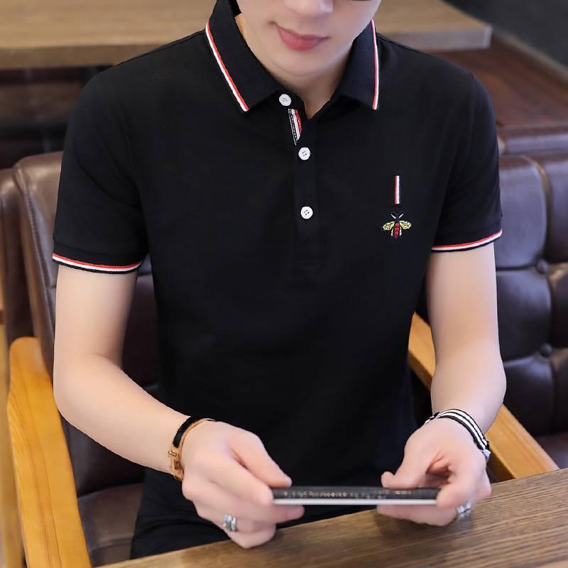 狂题韩版男装短袖T恤夏季新款男士潮流衬衫领POLO衫百搭修身衣服