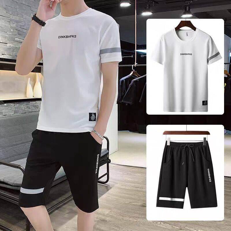 两件套夏季短袖t恤男士套装潮流搭配潮牌帅气上衣服男装韩版短袖