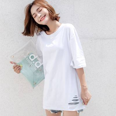 夏季宽松短袖t恤女中长款ins潮2020新款大版半袖下衣失踪网红上衣