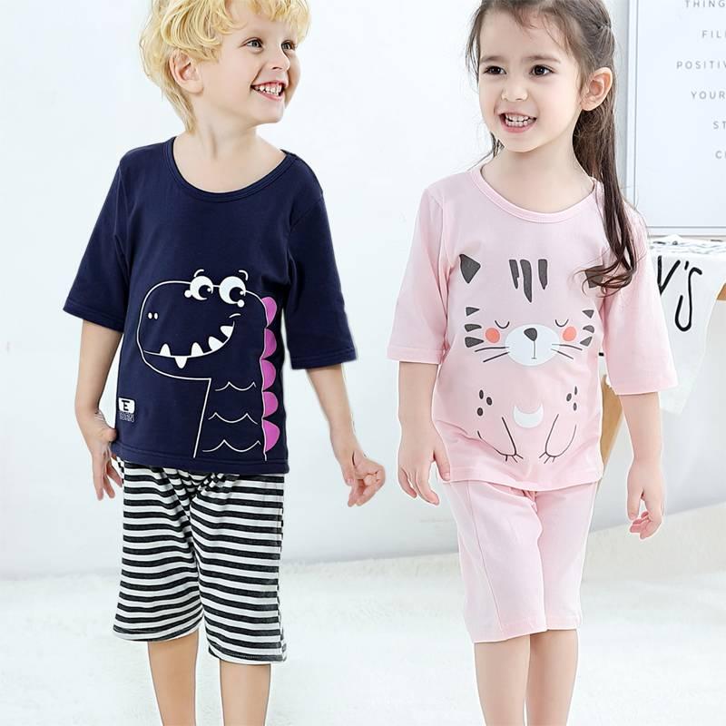 儿童睡衣纯棉套装家居服空调服两件套七分袖男童女童宝宝卡通春夏