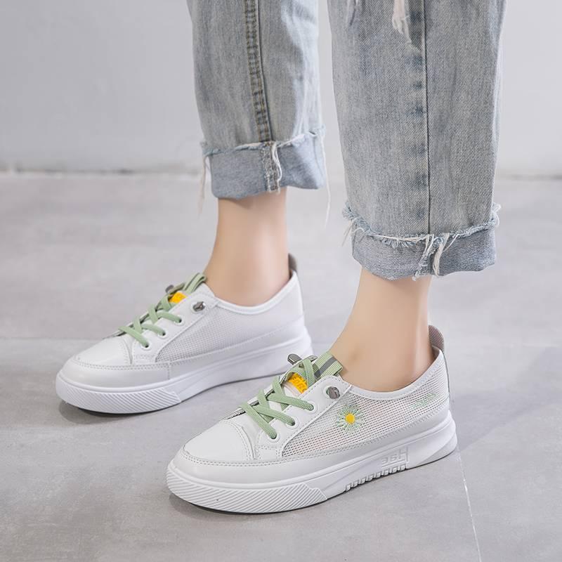 兰茵朵2020夏季小雏菊网面透气小白鞋女新韩版百搭学生厚底松糕鞋