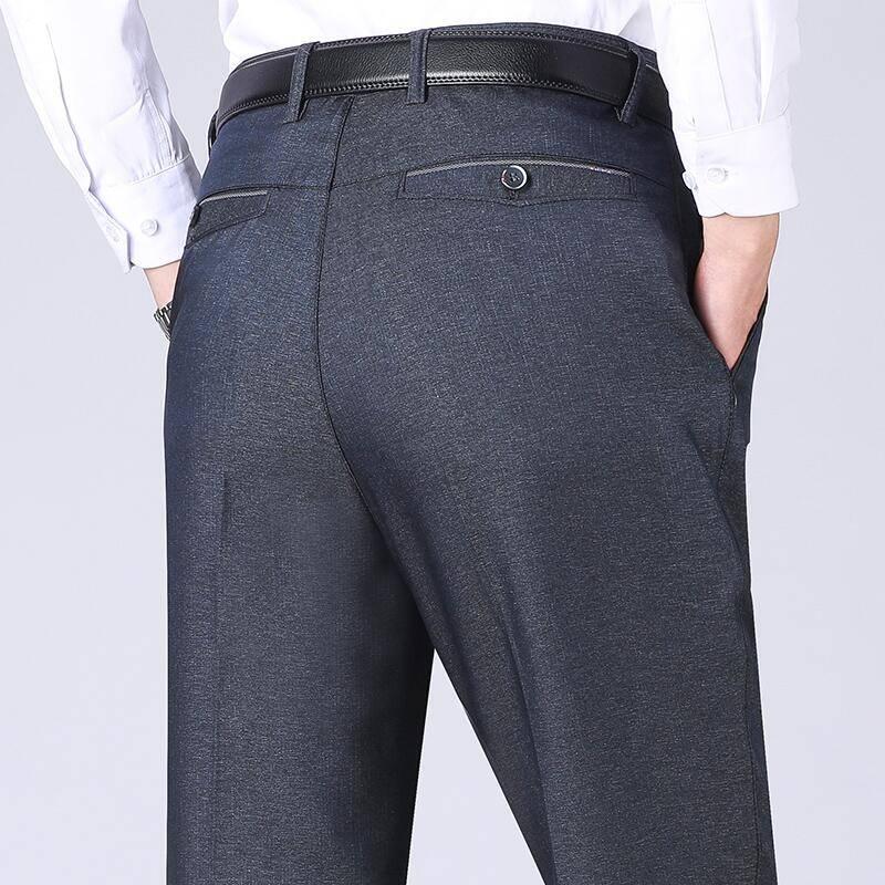 中年男休闲裤夏季薄款中老年人男裤春秋款西裤宽松西裤爸爸装长裤