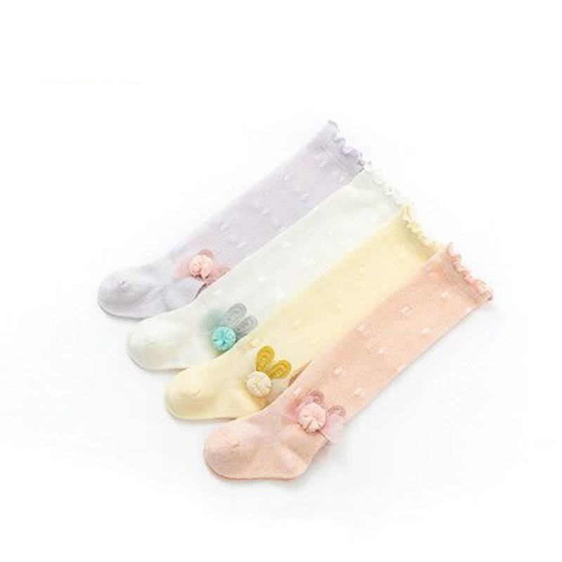 婴儿袜子夏季薄款长筒花边松口不勒脚宝宝袜透气防蚊新生儿高筒袜