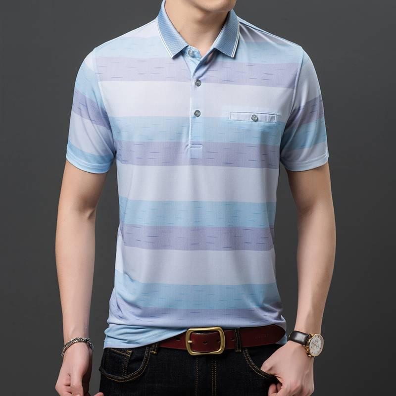父亲节夏装新品男士短袖爸爸T恤冰丝半袖体恤大码宽松打底衫潮