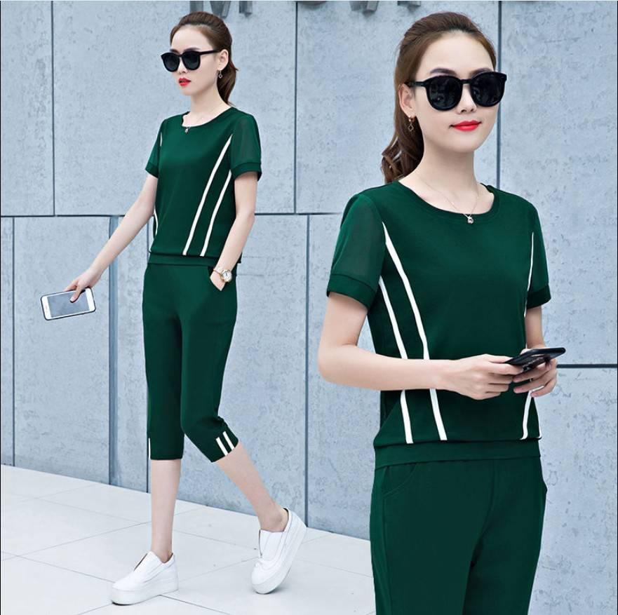 2020运动服套装女夏装新款韩版宽松大码上衣拼接网纱休闲两件套