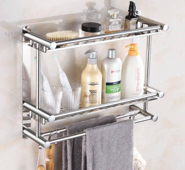 加厚毛巾架免打孔不锈钢浴室置物架卫生间浴巾收纳架厕所壁挂件