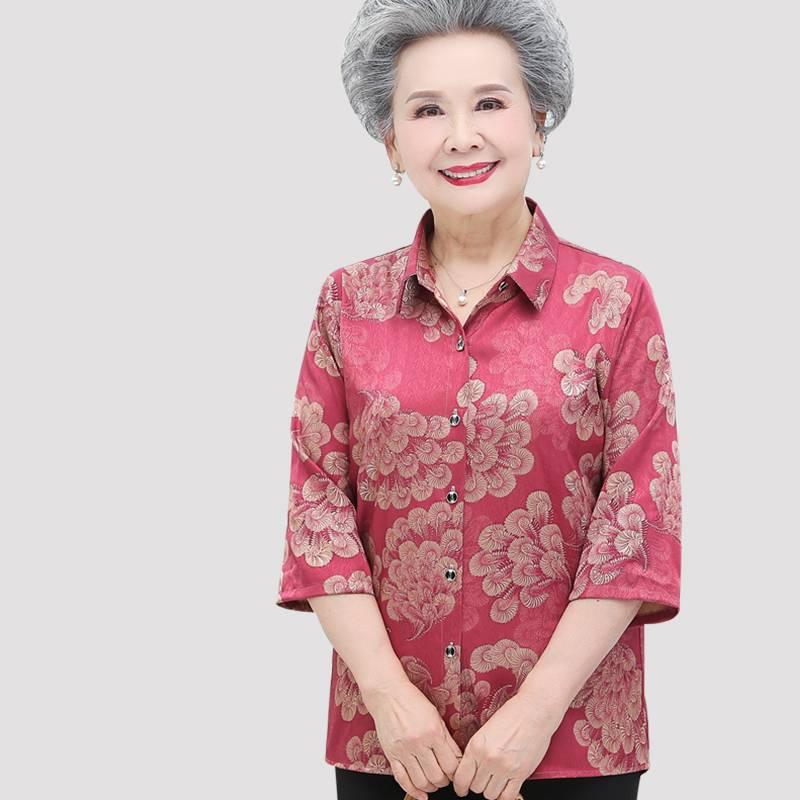 老年人女衬衫奶奶装夏季套装薄款大码短老太太妈妈七分袖婆婆衣服