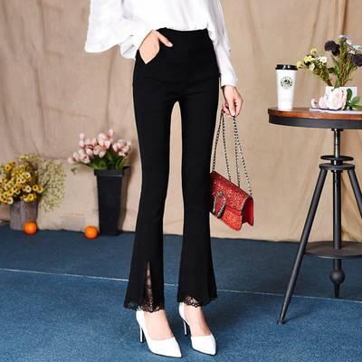 2020新款九分新款女裤喇叭蕾丝边裤子女韩版打底显瘦妈妈黑色长裤